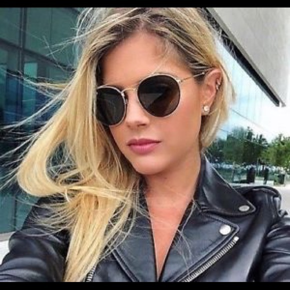 ray ban round double bridge black and gold